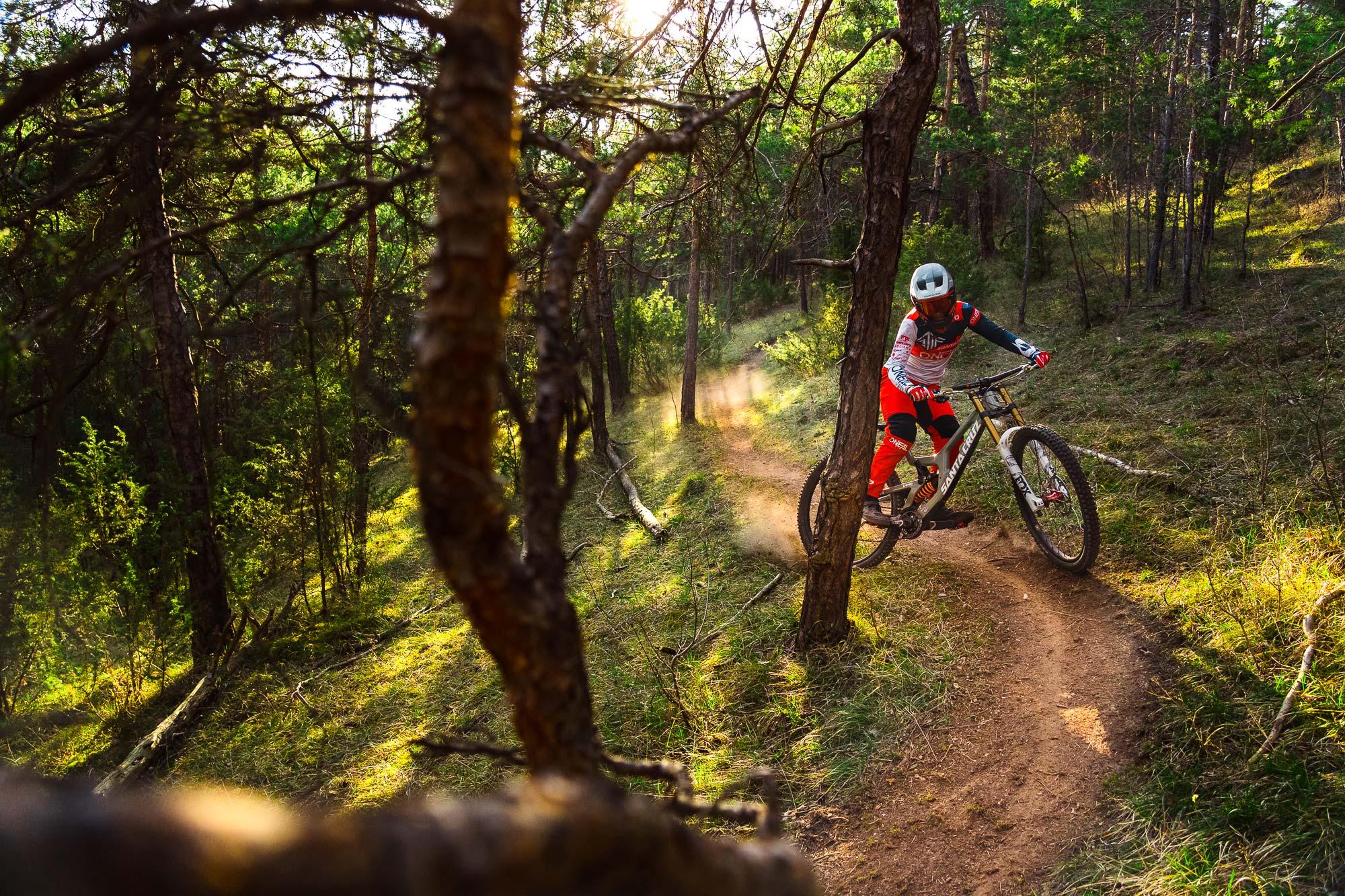 Nina Hoffmann Bluegrass Rider with Legit Carbon Downhill Helmet
