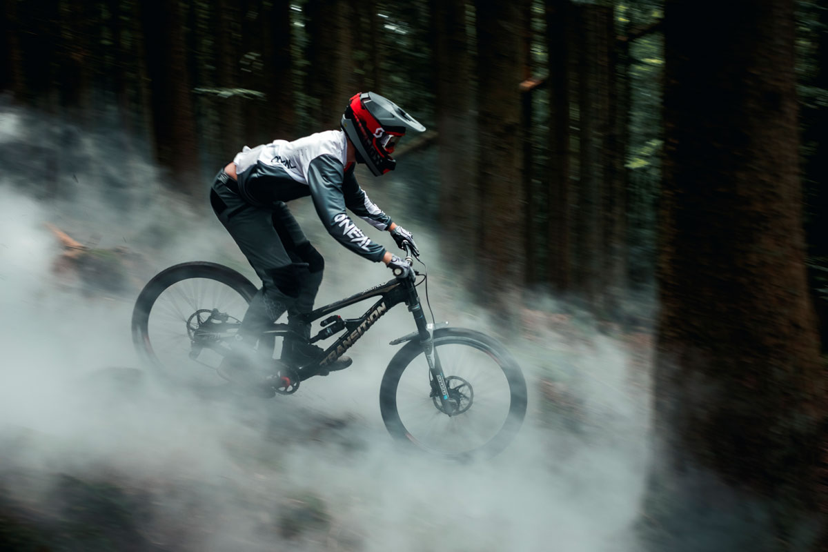 Riding the smoke: Benoit Gurnel with Bluegrass Legit Carbon Helmet, Maxime Rambaud with Camera and Creativity.
